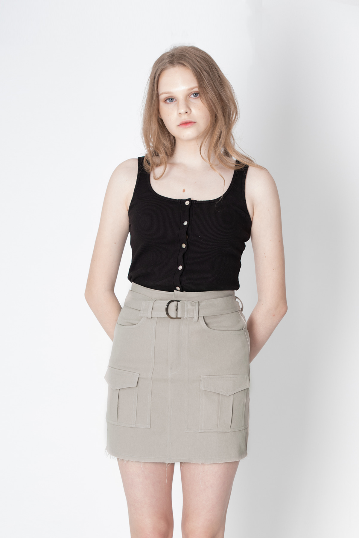 Pocket Mini Skirt (Beige)