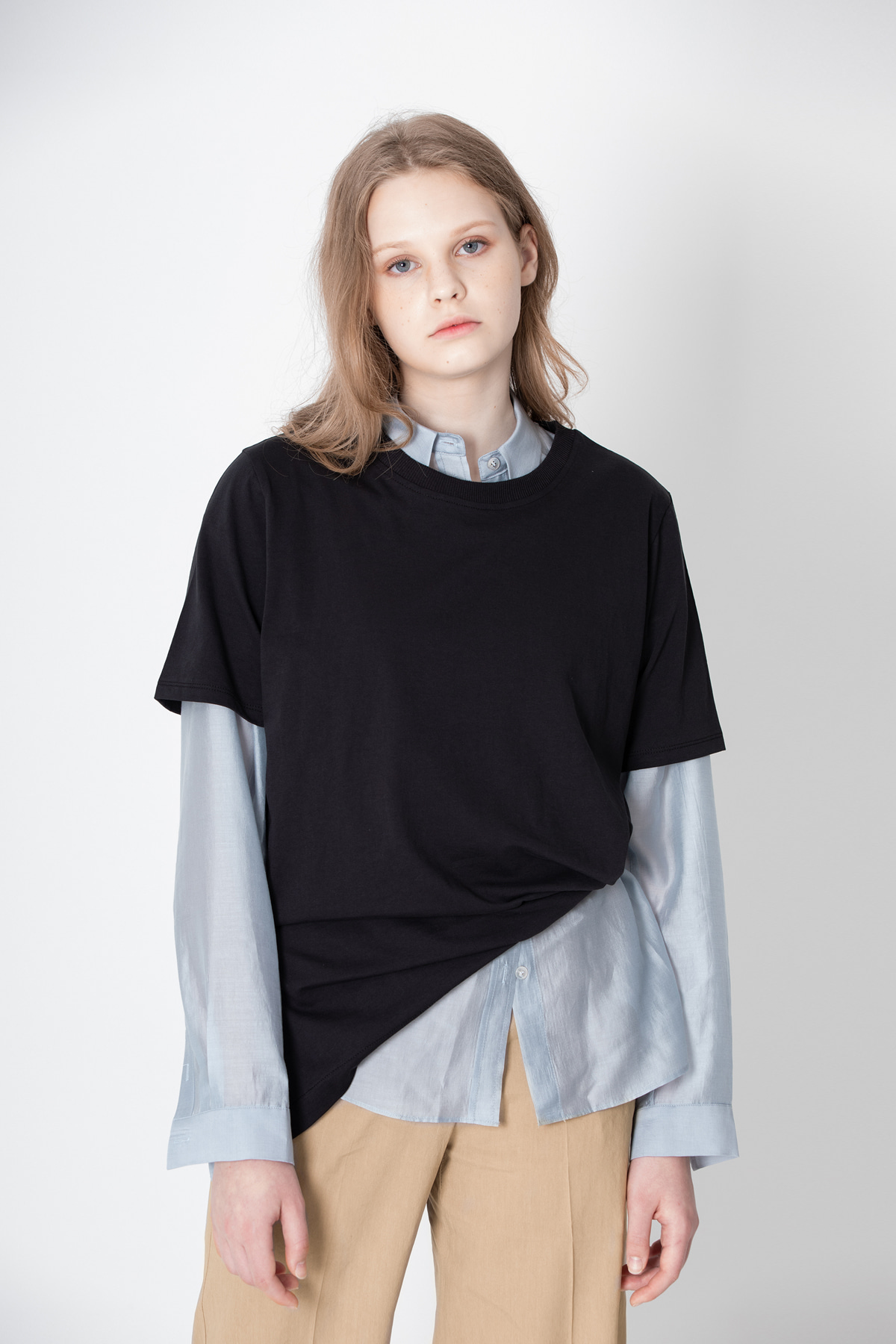 POOCION Side Slit Sliky T-Shirts (Black)
